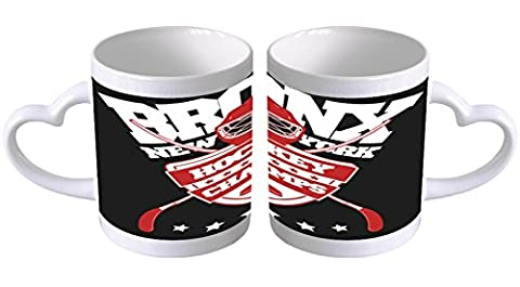 Mug Cup Retro Ice hockey Heart Handle