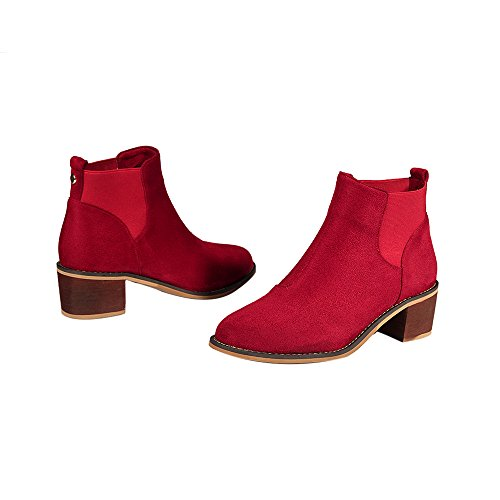 ENMAYER Femmes Nubuck Matériel Low Med Heel Round Toe Chelsea Ankle Bottes de bureau Souliers Casual Rouge