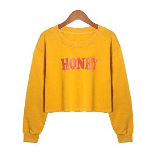 Hoodie Pullover Liusdh Honey Printed Long Sleeve O-Neck Short Sweatshirt Causal Tops Blouse for Girls(Yellow,XL) - Cut-neck-shirt