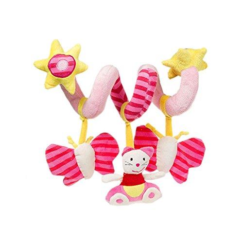 FYGOOD Baby Spirale Aktivität Plüschtiere Spielzeug, Babyschale, Kinderwagen und Reisen Spielzeug Katze ohne Spiegel erweiterte Länge: 60cm