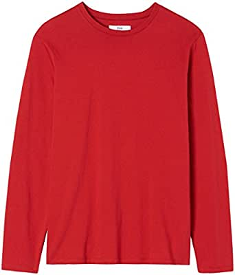 Unknown Men's Regular Fit Long Sleeve Cotton T-Shirt, Red (Rot), Small