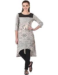 Indi Dori Women Polyester Multi Printed Kurti With Solid Yoke