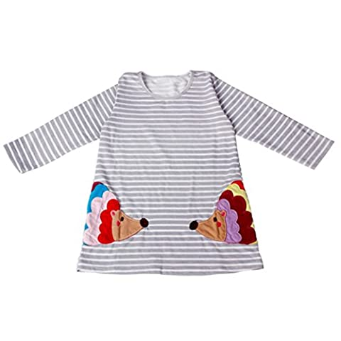For 2-7 Years Old,Clode®Baby Girls Kids Long Sleeve Stripe One Piece Knee-Long Summer Dress (2-3Years old)
