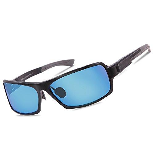 Duco polarizzati occhiali da sole avvolgenti rettangolare per uomini donne, telaio metallico infrangibile 9019 (nero/revo blu)