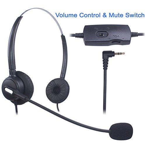 Xintronics 2,5mm Telefon Headset Binaural, Noise Cancelling Mikrofon, Lautstärkeregler, Call Center Kopfhörer für Panasonic Polycom Grandstream Gigaset Cisco Linksys SPA Schnurlostelefon(X203VP) -
