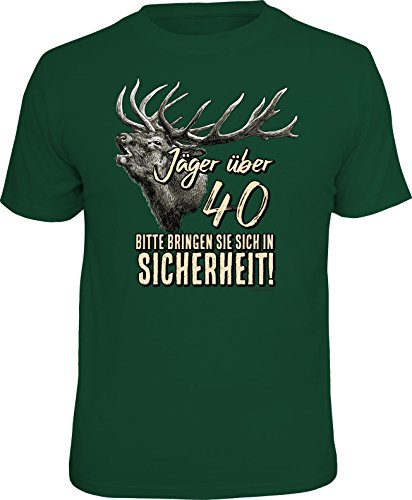 RAHMENLOS Original Geschenk T-Shirt für den etwas älteren Jäger über 40, Bitte bringen Sie Sich in Sicherheit! - Größe M -