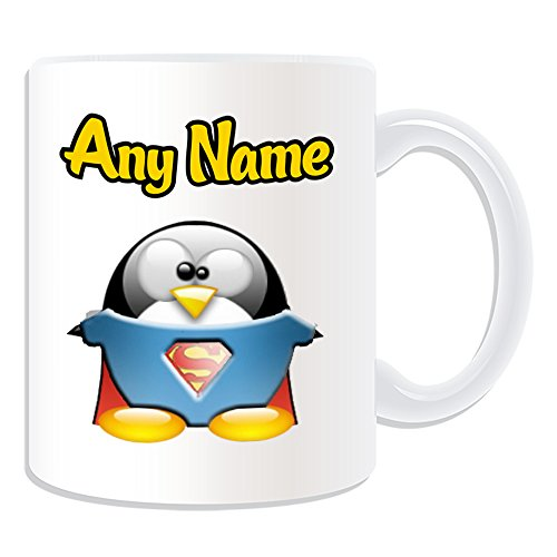 Girl Superhelden Cute Kostüme (Personalisiertes Geschenk – Tasse Superman (Pinguin Film Charakter Design Thema, weiß) – Jeder Name/Nachricht auf Ihre Einzigartiges – Kostüm Film Superheld Hero noch Clark)