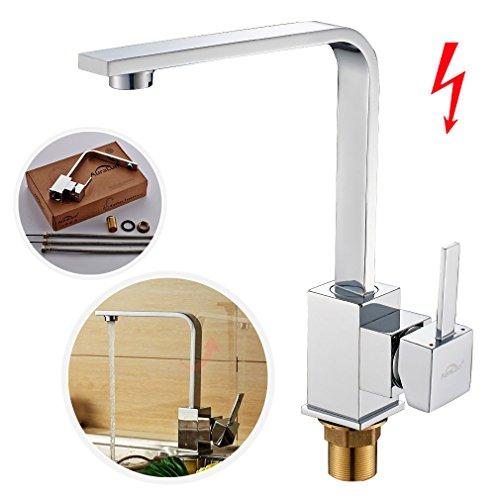 Preisvergleich Produktbild Auralum® Niederdruck 360° Drehbar Mischbatterie Armatur Wasserhahn Spültisch-Einhebelmischer für Spüle Küche