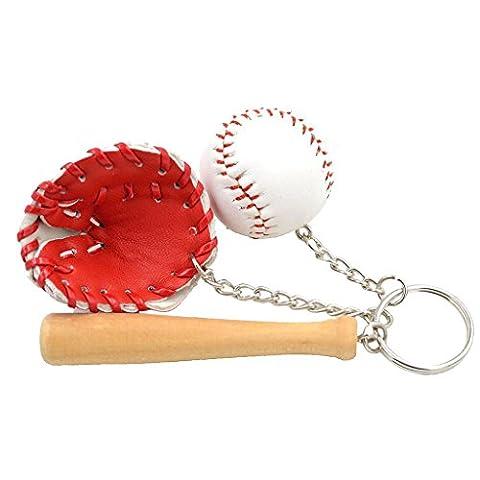 Mini-baseball Balle + Bat + Set Gant Pendentif Porte-clés Cadeau Porte-clés - Rouge