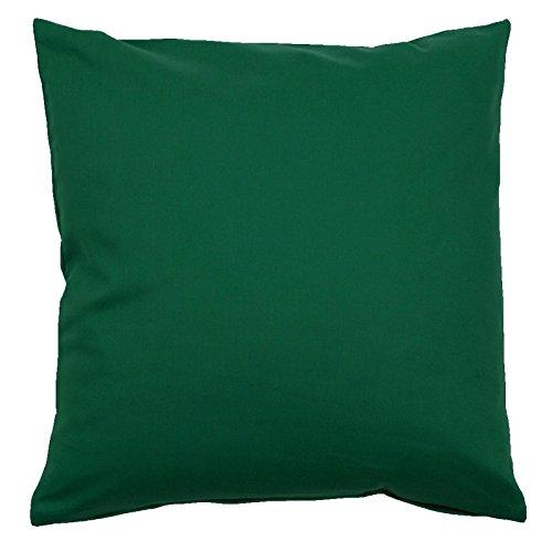 Kissenbezug, Uni, Baumwolle Linon, Reißverschluss, einfarbig, Kopfkissen, Dekokissen | 40x80 cm - Dunkelgrün