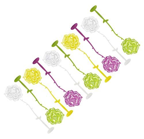 FACKELMANN Fliegenklatsche Rose mit Fuß Tecno, Insektenschutz mit Standfuß (Farbe: Gelb, Grün, Lila, Weiß - Nicht frei wählbar), Menge: 1 x 10er Set
