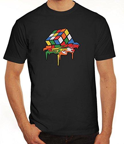 Zauberwürfel Herren T-Shirt mit Magic Cube Melting Motiv von ShirtStreet Schwarz