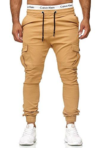 Code47 Herren Chino Jogg Jogger Jeans Slim Fit Cargo Stretch W29-W38 Beige W30 L32