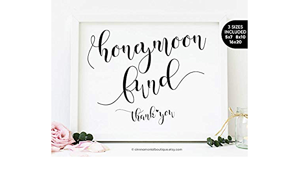 Arvier Honeymoon Fund Printable Sign Wedding Fund Sign Wedding Money Box Honeymoon Sign Honeymoon Fund Jar Box Wedding Reception Signs Printable Amazon Co Uk Kitchen Home