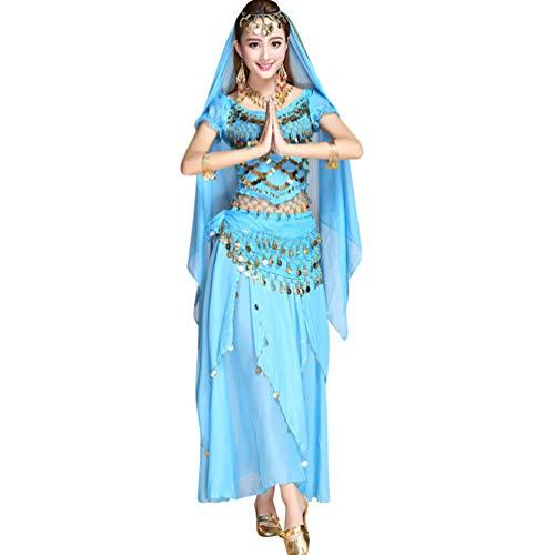 TianBin Damen Chiffon Bauchtanz-Kostüm Kurzarm Top Röcke Halloween Kostüm Alle Accessoires (See Blau#4, One Size)