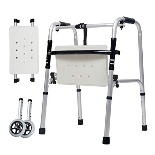 Aluminium-doppel-bein (DNSJB Krücken Walker älteres Aluminium Doppel fahrbarer Fuß Behinderungen Handlauf Sprühplatte untere Extremität sekundäre Beine 47cm × 52cm × 73cm)