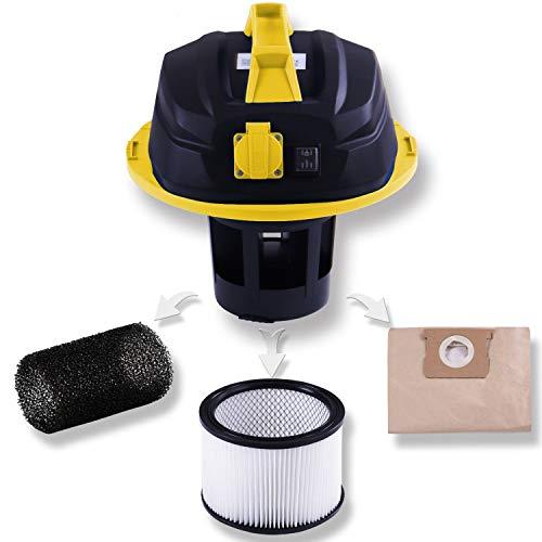 Masko Industriestaubsauger – gelb, 1800Watt ✓ Mit Steckdose ✓ Blasfunktion ✓ GS-Geprüft | Mehrzwecksauger zum Trocken-Saugen & Nass-Saugen | Industrie-Sauger verwendbar mit & ohne Beutel | Wasser-Staubsauger beutellos mit Filterreinigung - 3