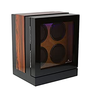 The Fortis Range New Robust Watch Winder for 4 Watches Zebrano Insert by Aevitas by Aevitas