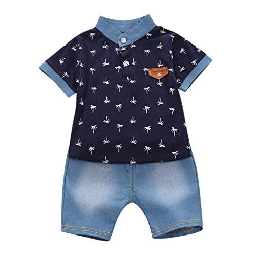 Kinderkleidung Set Kleinkind Kinder Baby Boy Junge Langarm Crown Muster Polo Shirt Tops + Jeans Set Bekleidungsset Babykleidung(1J-5J) (90, Schwarz 2)