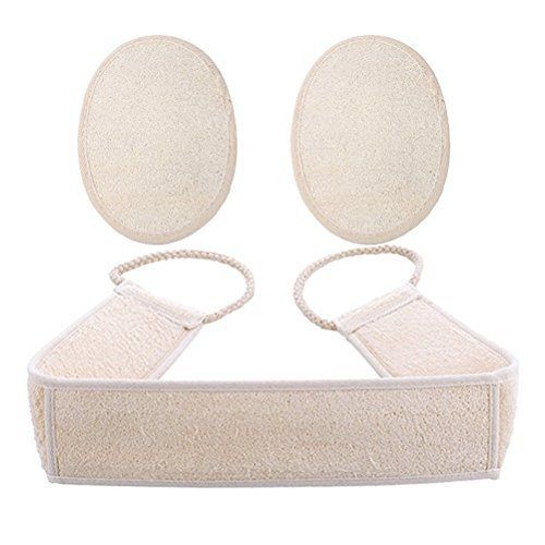 BESTNEWIE Exfoliating Loofah Back and Body Scrubber Strap for Shower for Men and Women (1 Pack 4 x 32 Inch), Loofah Sponge Pad for Skin Care (2 Pack Large 4x6 Inch)