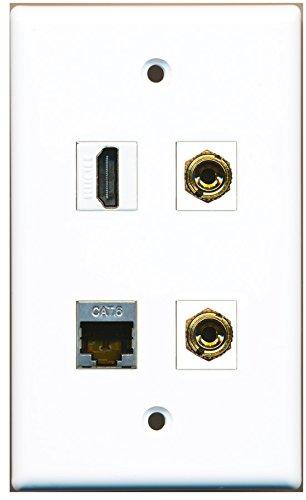 RiteAV-1Port HDMI 1Port geschirmt CAT6Ethernet 2Port Banana Lautsprecher Wandplatte Flush Mount Wall Jack