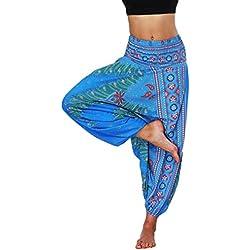 Lvguang Pantalones De Estilo Hippie De Los Mujer De La Vendimia del Estilo Nacional Pantalones Holgados Bombachos Ocasionales del Hippie (Estilo13, One Size)