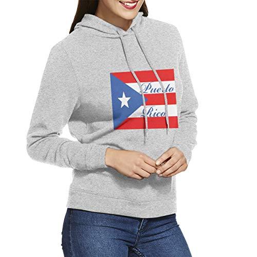 Eamibay Puerto Rico Long Sleeve Women's Hoodie Sweatshirt Drawstring Hooded Pullover Tops Blouses Gray S