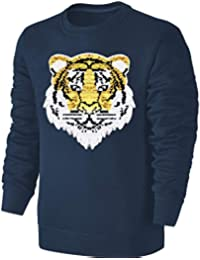 d41e5a74bf Blackshirt Company Kinder Wende Pailletten Sweatshirt Tiger Streichel  Pullover Blau