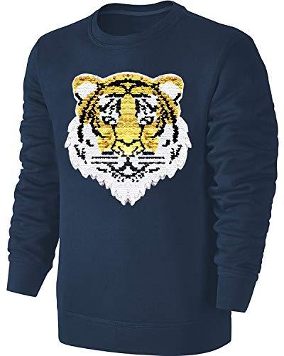 Blackshirt Company Kinder Wende Pailletten Sweatshirt Tiger Streichel Pullover Blau Size 140