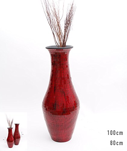 Jarrón de Suelo Mosaico de Vidrio 100 cm, Cerámica, Rojo