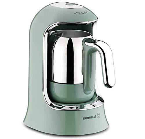Korkmaz | Kaffeekolik | Elektrischer | Mokkakocher | Espressokocher | 400 Watt | 4 Tassen | Türkis |