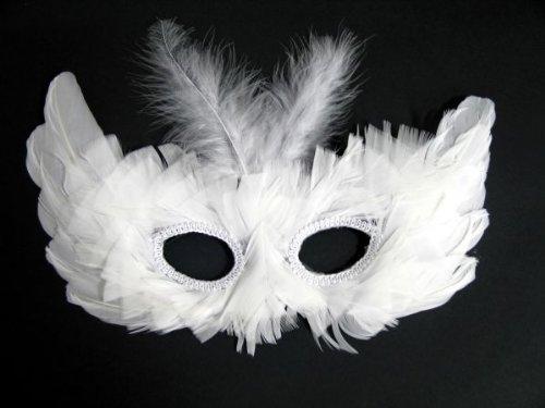 Weiße Feder Maske - Festartikel Müller Augenmaske aus echten Federn