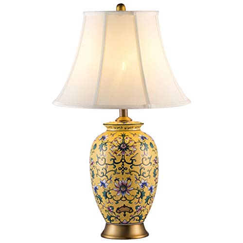 Lampe de bureau En Céramique Rétro Lampe De Table Salon Décoratif Creative Design Chambre Lampe De Chevet Tissu Ombre Pastel Artisanat Décoration