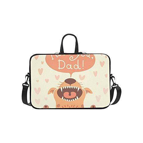 Karte glücklicher Vatertag lustige Welpen Aktentasche Laptoptasche Messenger Schulter Arbeitstasche Crossbody Handtasche für Geschäftsreisen - Karte-laptop-hülse
