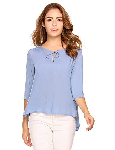 Zeagoo Damen Blusen 3/4 Arm Causal Blusenshirt Beiläufige V-Ausschnitt Oberteil Einfarbig Bluse Sommer Tops T-Shirt