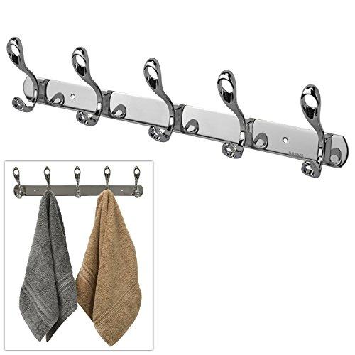 Double Coat Rack Haken (Grade 304Edelstahl Wand montiert 5Double ist Haken Coat/Bademantel/Handtuch Kleiderbügel Rack-MyGift)