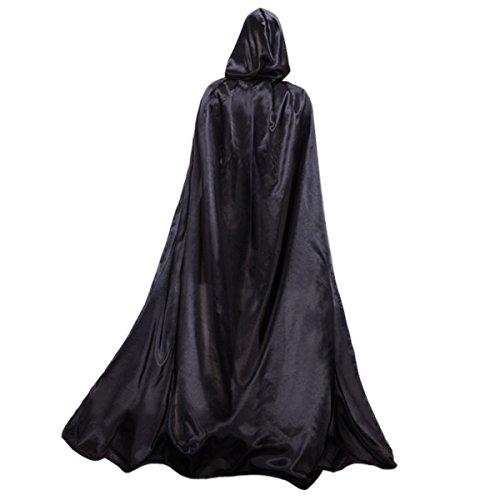 Alle Schwarz Halloween Kostüm - Damen Herren Halloween Umhang Karneval Fasching
