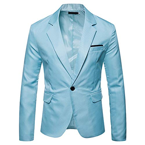 Cebbay Clearance Man Suits Business Wedding Jacket Man Suits for Wedding Jackets Suit and American Single Button Coverall (Light Blue, EU Size S = Tag M)