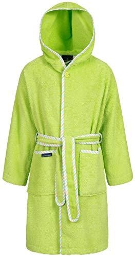 Morgenstern Baumwoll Kinderbademantel mit Kapuze einfarbig, Gr. 158/164,Grün