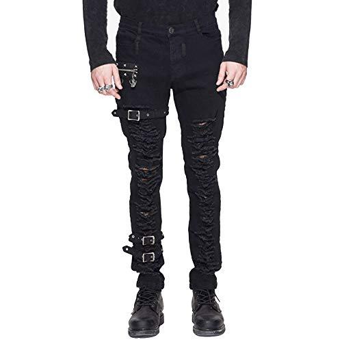 errissen Jeans Herren, Steampunk Denim Bleistift Hosen Slim Fit, Schwarz Strecken Hose, Größe S bis Größe 3XL ()