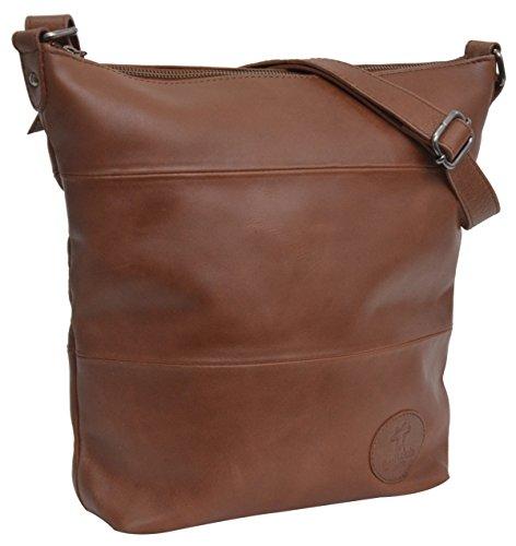 Handtasche Leder Gusti Leder studio ''Zahara'' Ledertasche 33 x 31 x 7,5 cm Umhängetasche Shopper Damenhandtasche Braun 2M45-29-1