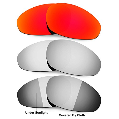HKUCO Red/Titanium/Transition/Photochromic Polarized Replacement Lenses For Oakley Straight Jacket 1999 Sunglasses