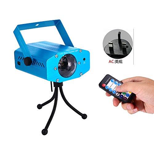 BeesClover Luz Lámpara Azul Estroboscópica de Etapa de Efecto de Onda de 7Colors del Led con Sonido de Control Remoto Activado para Noche de Partidos de DJ Caseros
