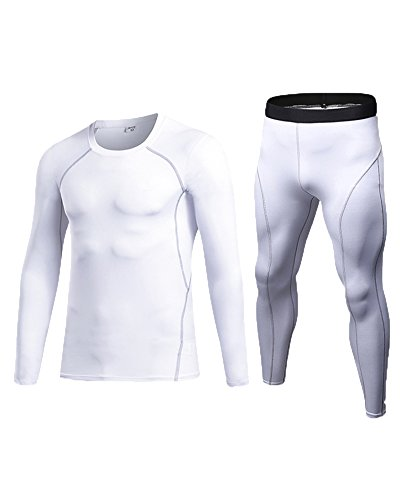 Collant A Compressione Set Sports Maniche Lunghe Sport T-Shirt Magliette Pantaloni Running Per Uomo Bianco