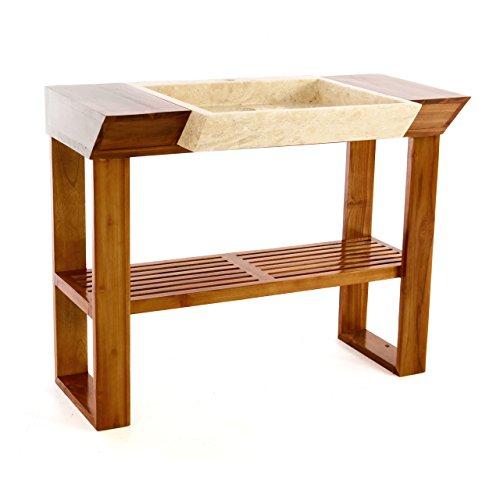 DIVERO Waschtisch-Garnitur Teakholz-Tisch viereckiges Marmorwaschbecken Naturstein-Waschbecken beige poliert