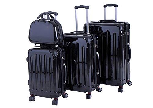 P-Collection Koffer Trolley Reisekoffer Hartschalenkoffer Handgepäck M-L-XL 3er/4er Set Zwillingsrollen 8 Farben (4er Set, schwarz)