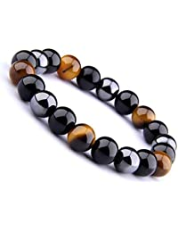 09765a32004 Wave Process Bracelet Fashion Véritables Pierres Naturelles Triple  Protection de 10mm Hématite Noire Obsidienne et Œil