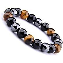 4e023b21c6a Wave Process Bracelet Fashion Véritables Pierres Naturelles Triple  Protection de 10mm Hématite Noire Obsidienne et Œil