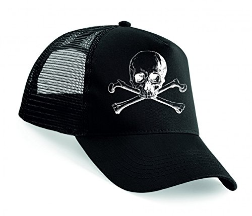 Snapback 'GEKREUZTEN KNOCHEN- SCHÄDEL- GEFAHR- TOD- HALLOWEEN- TOTEN- PIRAT- HORROR- SKELETT- KNOCHEN- WARNUNG- TOTENKOPF' Unisex Baseballmütze Trucker Mützen Base Caps