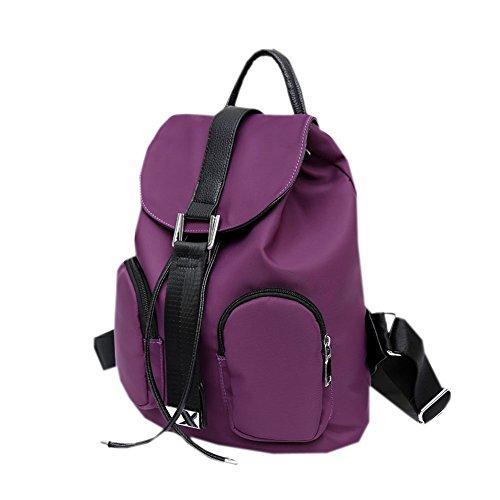 KK-Go Damen Vintage Leder Rucksack Koreanische Adrette Art Schulmädchen Backpack Dunkelviolett